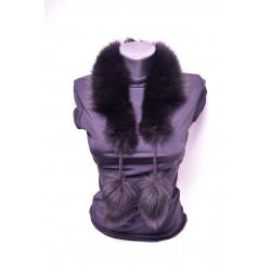Kožušinový golierik šál z pravej kožušiny , chvost polárna líška farbená , brmbolce