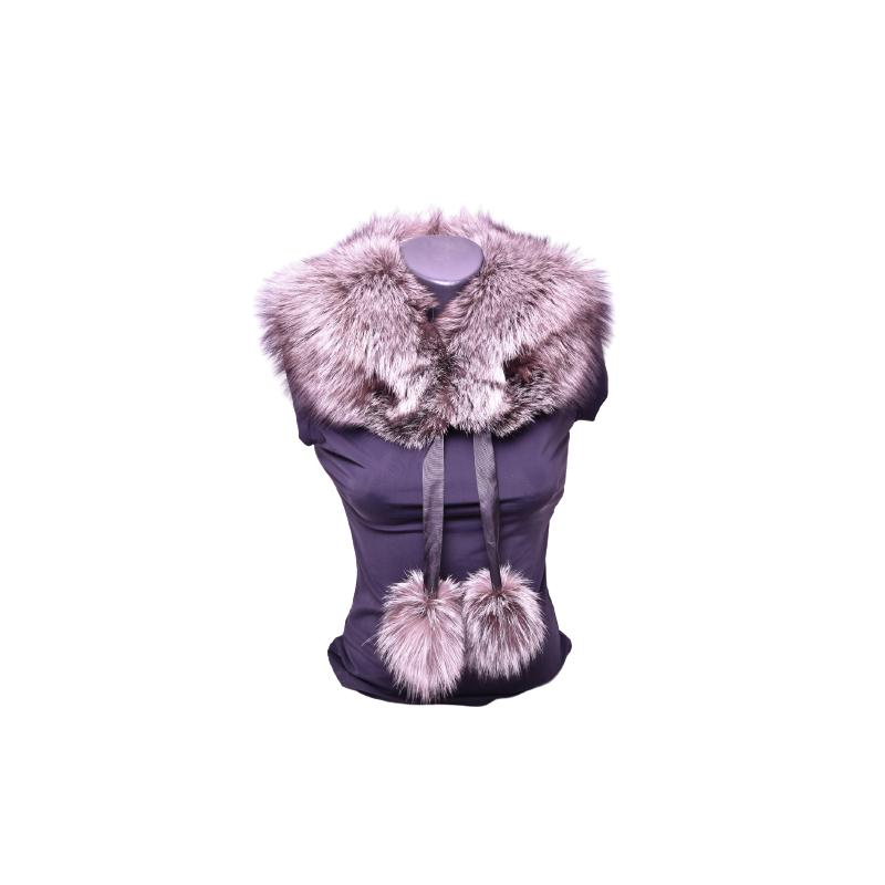 Kožušinový golier / šál / s brmbolcami , pravá kožušina strieborná líška