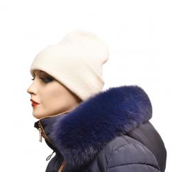 Kožušinový lem na kapucňu ,pravá kožušina polárna líška farbená tmavomodrá