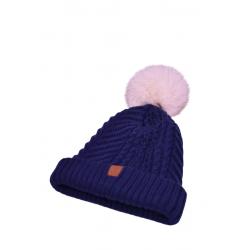 modrá čiapka s pravým kožušinovým brmbolcom z polárnej líšky