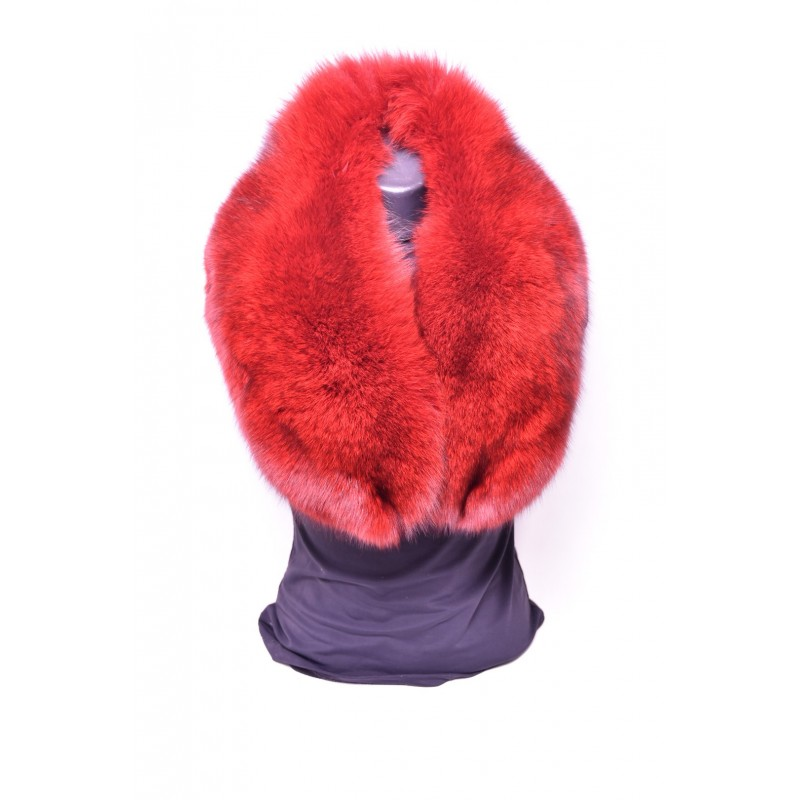 Kožušinový golier / šál / , pravá kožušina , polárna líška farbená - červená