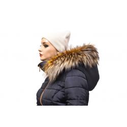 Kožušinový lem na kapucňu , pravá kožušina strieborná  líška farbená