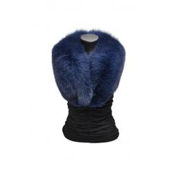 Kožušinový golier / šál / , pravá kožušina , polárna líška farbená - modrá