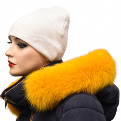 Lem na kapucňu ,žltá farbená, pravá kožušina polárna líška