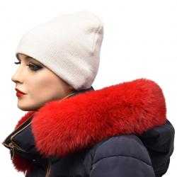 Lem na kapucňu , pravá kožušina polárna líška , červená farba