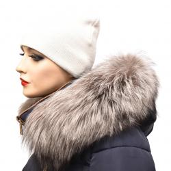 Kožušinový lem na kapucňu , pravá kožušina strieborná  líška