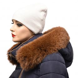 Kožušinový lem na kapucňu , farba škoricová ,pravá kožušina polárna líška