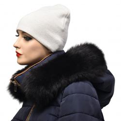 Kožušinový lem na kapucňu , farba čierna ,pravá kožušina polárna líška