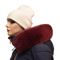 Kožušinový lem na kapucňu , pravá kožušina polárna líška farbená bordová