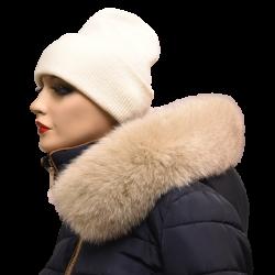 Kožušinový lem na kapucňu  , pravá kožušina polárna líška farbená svetlo béžová