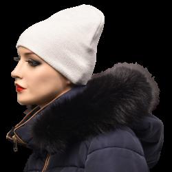 Kožušinový lem na kapucňu , farba čierna , pravá kožušina chvost polárna líška