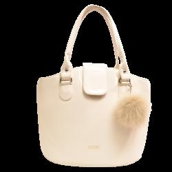 Kožušinový prívesok na kabelku pravá kožušina polárna líška farbená