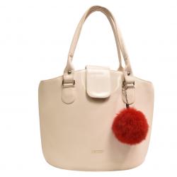 Kožušinový brmbolec , pravá kožušina , líška polárna farbená , kožušinový prívesok na kabelku