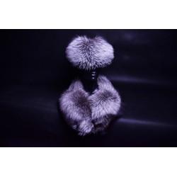 Kožušinový golier / šál / s lodičkou strieborná líška