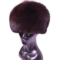 Kožušinová čiapka klasická , pravá kožušina , polárna líška farbená tmavohnedá