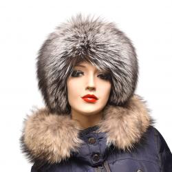 Kožušinová čiapka klasická , pravá kožušina ,  strieborná líška
