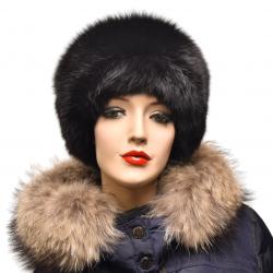 Kožušinová čiapka klasická , pravá kožušina , polárna líška farbená čierna