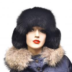 Ušianka polárna líška farba čierna , pravá kožušina