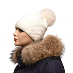 Pletená čiapka s kožušinovým  brmbcom , plárna líška