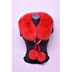 Kožušinový golier / šál / s brmbolcami ,  pravá kožušina, polárna líška farbená - červená